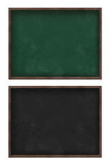 Blank green and black blackboard set