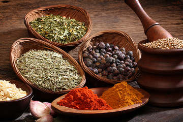 Different spices over a wood background.