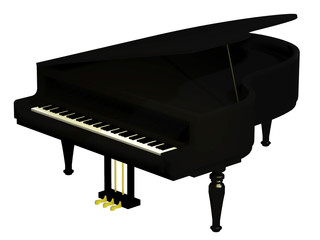 piano black isolated on the white background