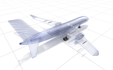 Airplane wire model , isolated on white. My own design