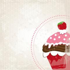 Erdbeer Cupcake auf Grunge Hintergrund