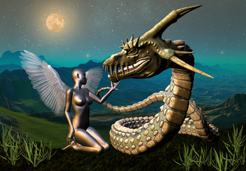Photo sur Aluminium Dragons Dragon & Angel - Fantasy Scene