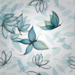 Azure Flowers like Butterflies / Surreal seamless pattern