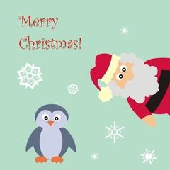 Weihnachtsmann und Pinguin