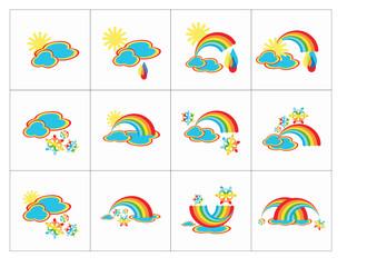 Cartoon Weathers icons, Isolated On White Background,