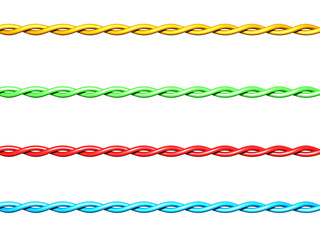 set of colorful twisted electrical wires on white background