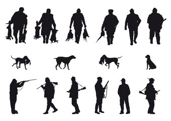 silhouettes of hunters and dogs on white background
