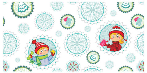 Cartoon pattern of Christmas holidays gifts and happy kids.