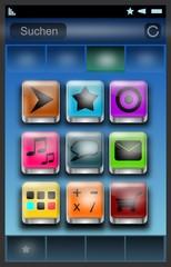 Smartphone - Oberfläche mit Apps