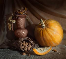 still life with pumpkin