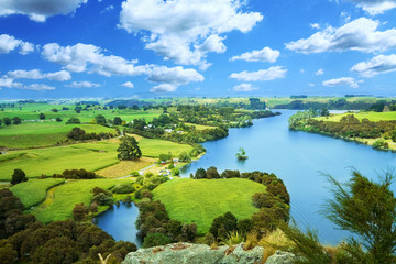 Wall Murals New Zealand Picturesque landscape with river