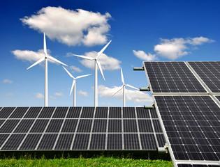 solar panels and wind turbine