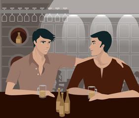 men having a drink at a bar