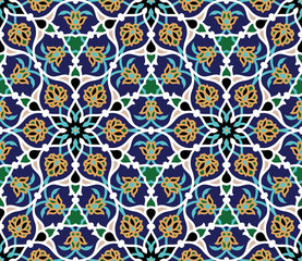 Photo sur Toile Tuiles Marocaines Safar Seamless Pattern Two