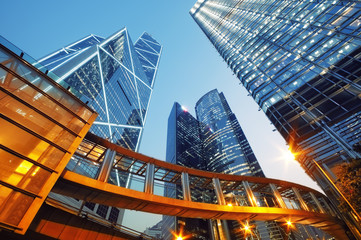 Modern office buildings in  Hong Kong.