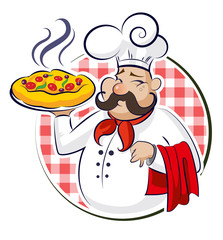Wall Mural - Cook Pizza. Vector illustration isolated on a white background