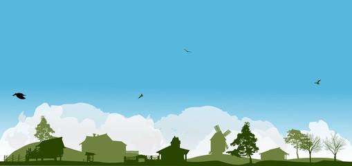 Aluminium Prints Blue country green landscape under white clouds