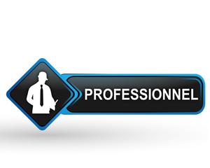 professionnel sur bouton web carré design bleu