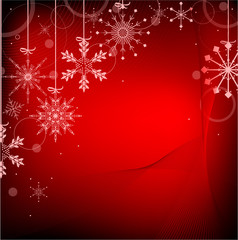 red color background with snowflakes
