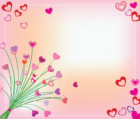 Card Valentine's Day, a bouquet of hearts