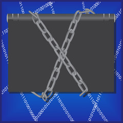 Censorship concept with notebook, chain and web.