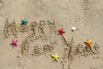 Happy New Year beach postcard