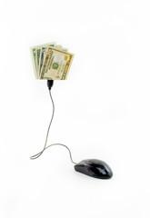 Mouse conectado a notas de dólares