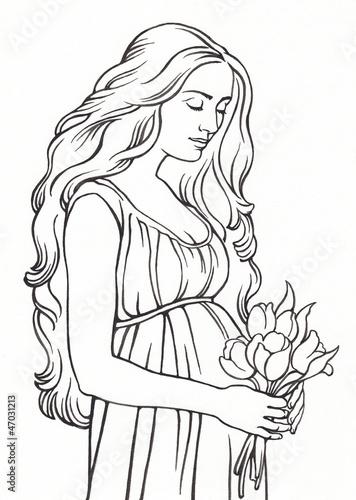 Рисунки беременных женщин карандашом 60