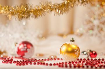 Red bead and christmas balls.