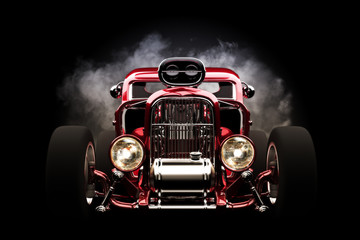 Hotrod with smoke background