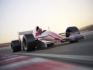 Poster Motorise Indy car racer with blurred background