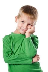 Portrait of joyful beautiful little boy isolated on white backgr