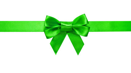green ribbon with bow with tails