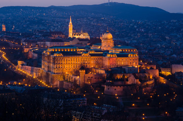 Budapest by Night, view from Gallert hill