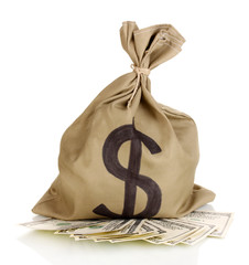 Bag with money isolated on white