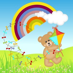 Poster Ours Teddy Bear with Kite Wind on Rainbow