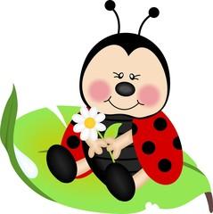 Ladybug sitting on a green leaf