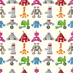 Printed roller blinds Robots seamless Robot pattern