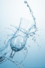 Water splash with glass
