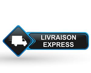 livraison express sur bouton web carré design bleu