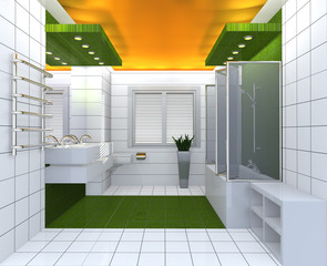 Modern luxury bathroom yellow green white interior.