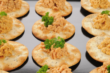 Crackers with lobster dill spread