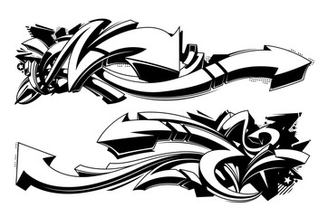 Poster Graffiti Black and white graffiti backgrounds