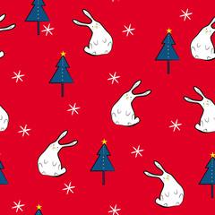 Funny rabbits and Christmas trees