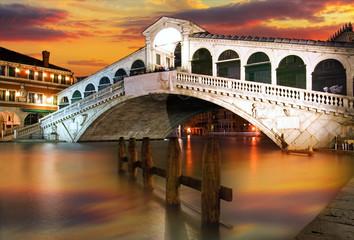 Rialto Bridge, Venice at dramatic sunset