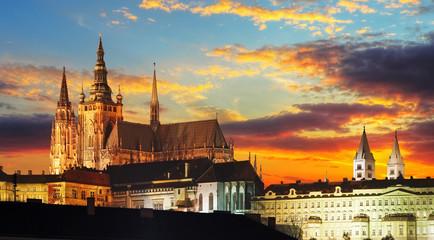 Printed kitchen splashbacks Prague Prague Castle at sunset - Czech republic