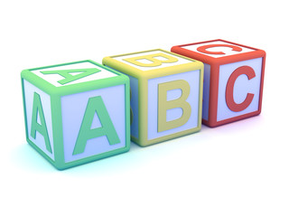 Letter blocks ABC in a row