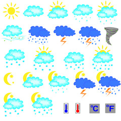 Set of vector weather forecast icons