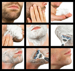 Close-up of a young man shaving, compilation of nine images