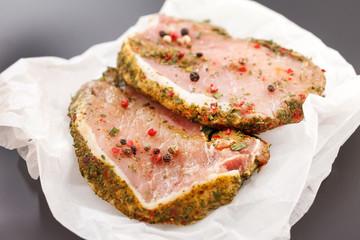 raw pork meat with spice